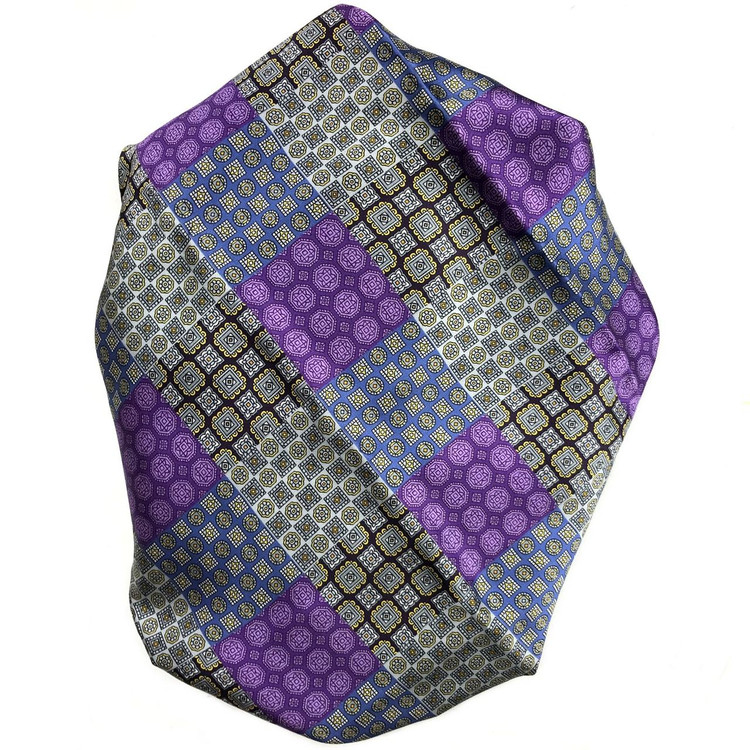 Custom Made Purple, Grey, and Blue Patchwork Best of Class Printed Silk Tie by Robert Talbott