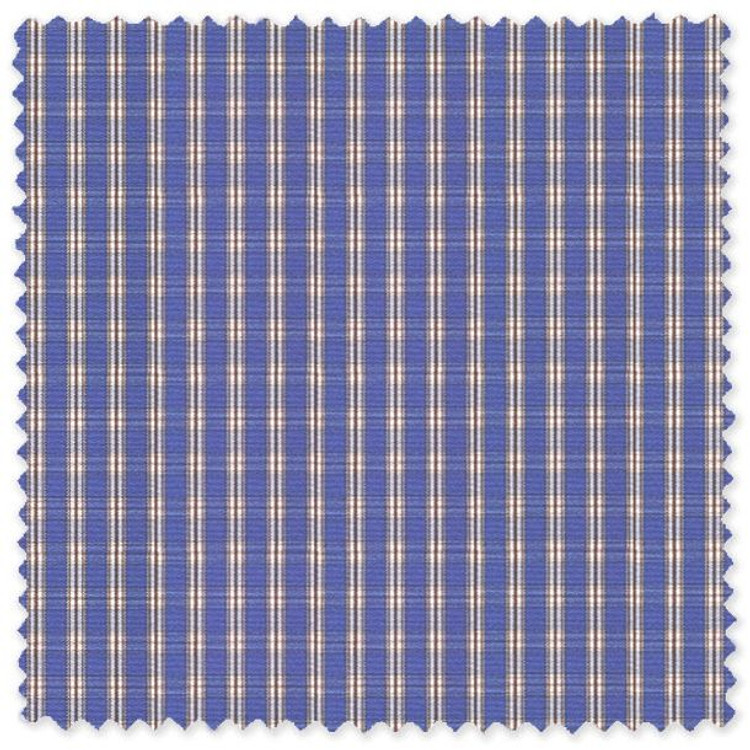 Blue and Brown Check 'Classic 120's' Cotton Broadcloth Custom Dress Shirt by Skip Gambert