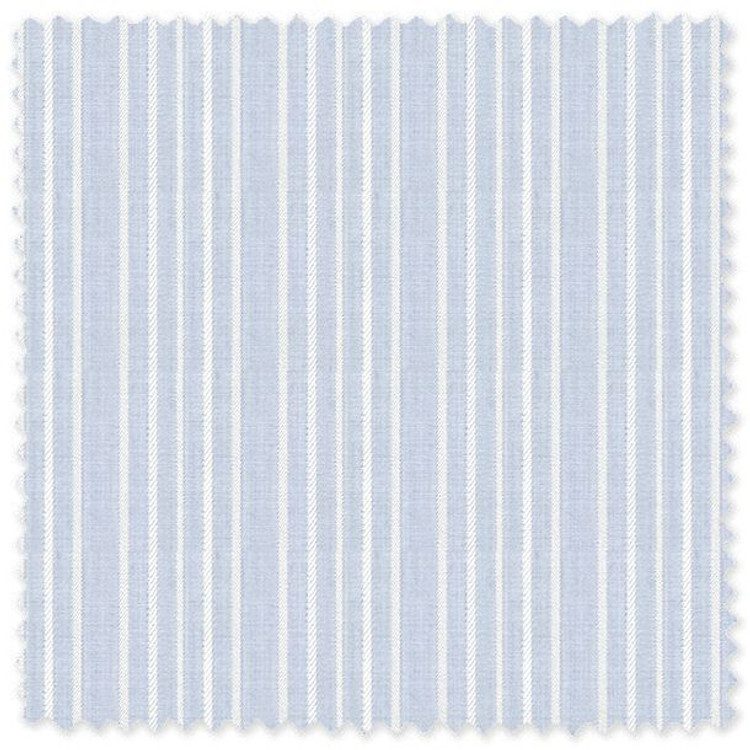 Blue with Satin Stripe 'Classic 120's' Cotton Broadcloth Custom Dress Shirt by Skip Gambert