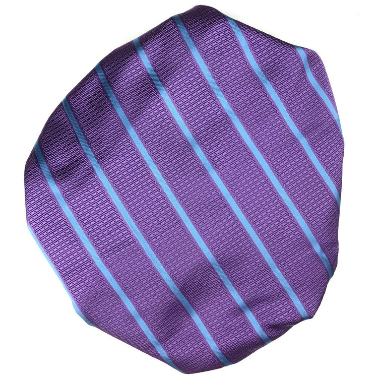 Custom Made Purple and Blue Stripe Silk Estate Tie by Robert Talbott