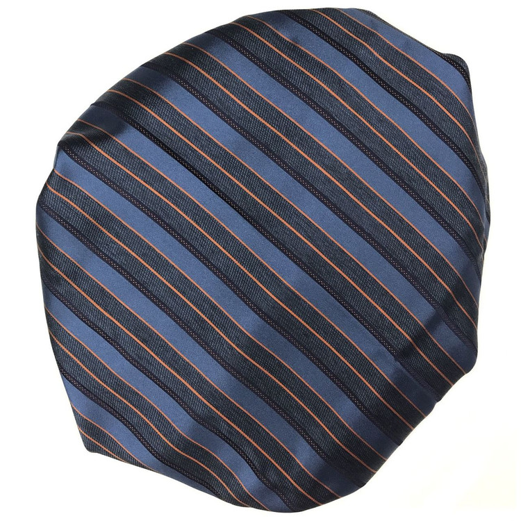 Custom Made Blue, Navy, and Orange Stripe Silk Estate Tie by Robert Talbott