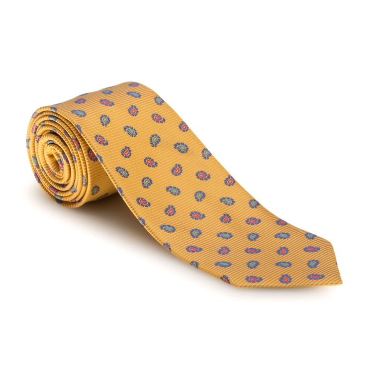 Best of Class Gold and Blue Neat Paisley 'Heritage' Woven  Silk Tie by Robert Talbott