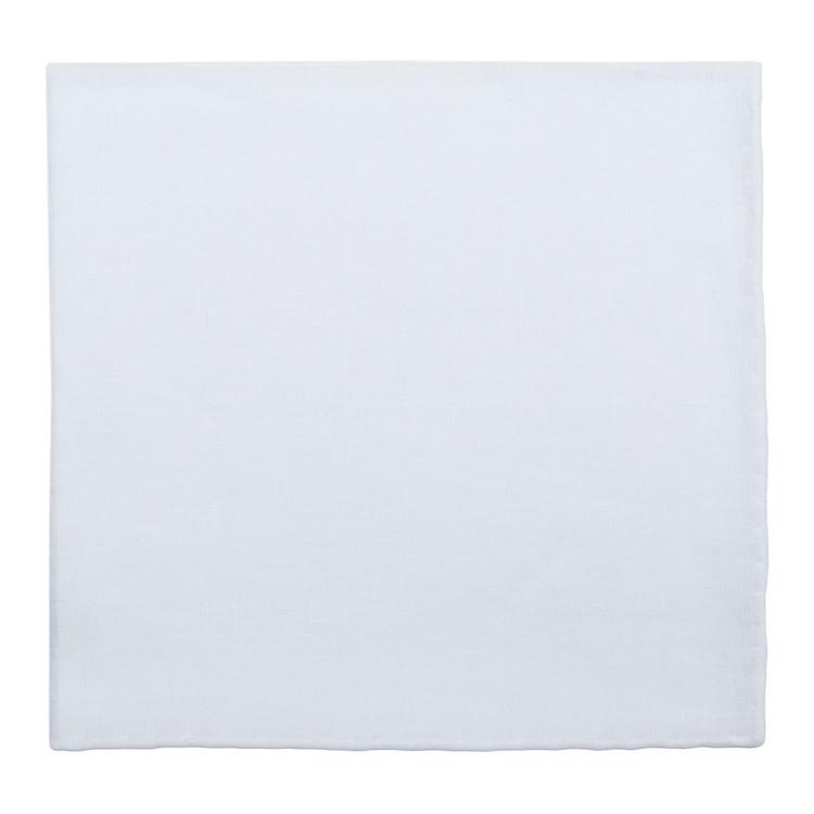 Solid White Linen Pocket Square by Robert Talbott