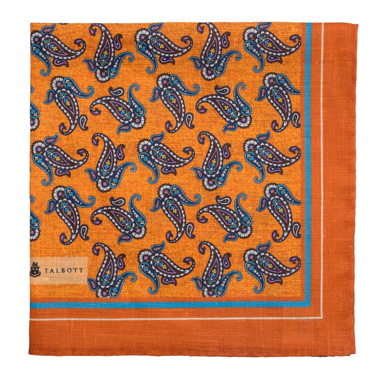 Spring 2017 Orange and Blue Paisley Cotton and Silk Pocket Square by Robert Talbott