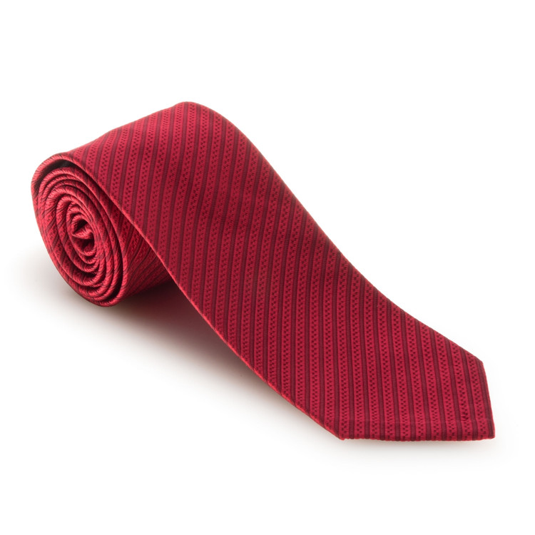 Spring 2017 Red Two-Tone Stripe 'Sudbury' Seven Fold Woven Silk Tie by Robert Talbott