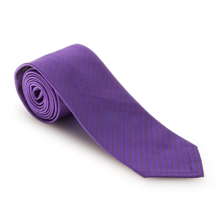 Spring 2017 Purple Two-Tone Stripe 'Sudbury' Seven Fold Woven Silk Tie by Robert Talbott