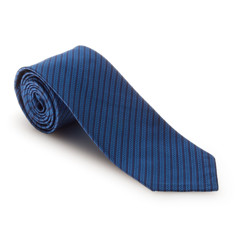 Spring 2017 Blue Two-Tone Stripe 'Sudbury' Seven Fold Woven Silk Tie by Robert Talbott