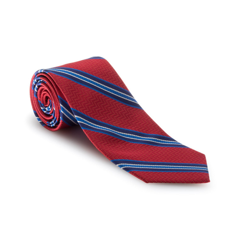 Spring 2017 Best of Class Red and Blue Stripe 'Heritage' Woven Silk Tie by Robert Talbott