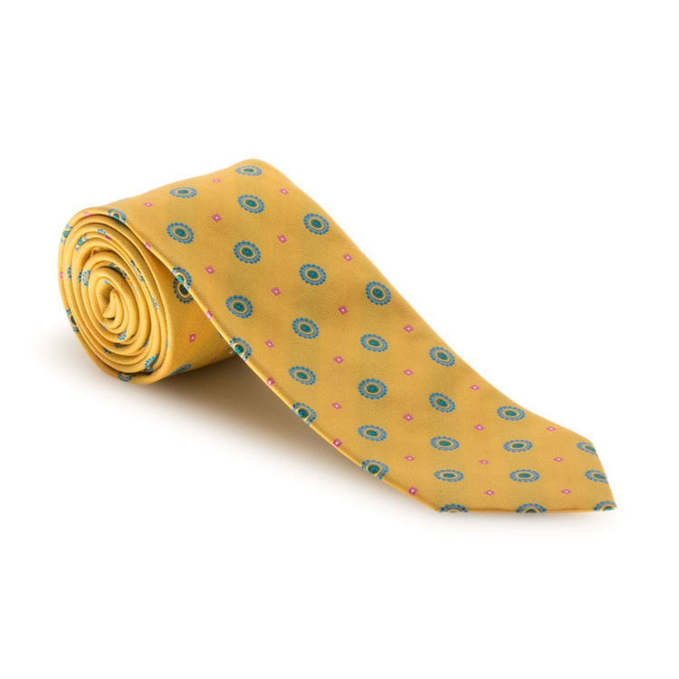 Spring 2017 Best of Class Yellow and Aqua Neat 'Academy' Silk Tie by Robert Talbott