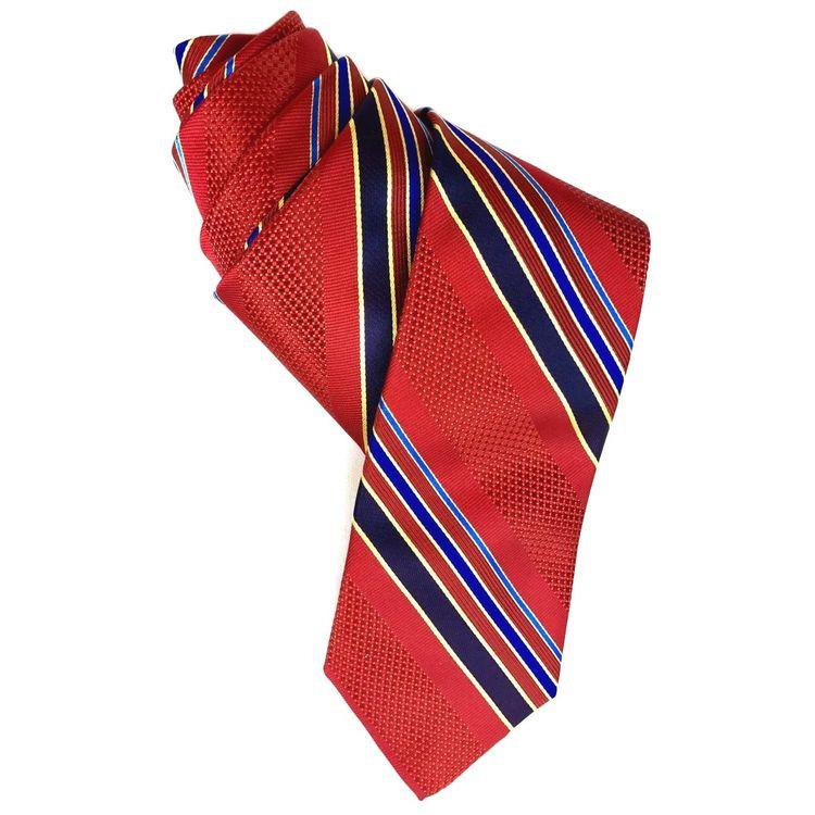 Red and Navy Stripe Woven Silk Tie by Robert Talbott
