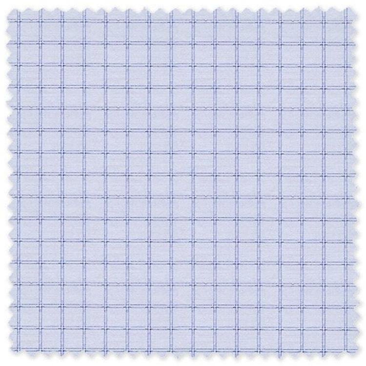 Blue Check on Light Blue 'Classic 120's' Cotton Broadcloth Custom Dress Shirt  by Skip Gambert