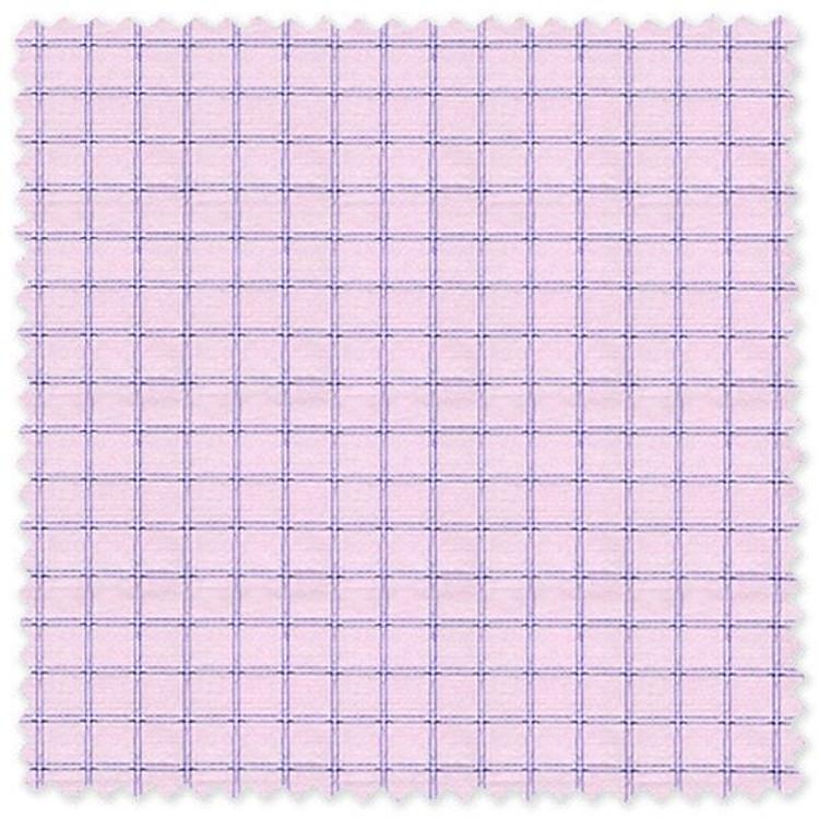 Blue Check on Pink 'Classic 120's' Cotton Broadcloth Custom Dress Shirt  by Skip Gambert