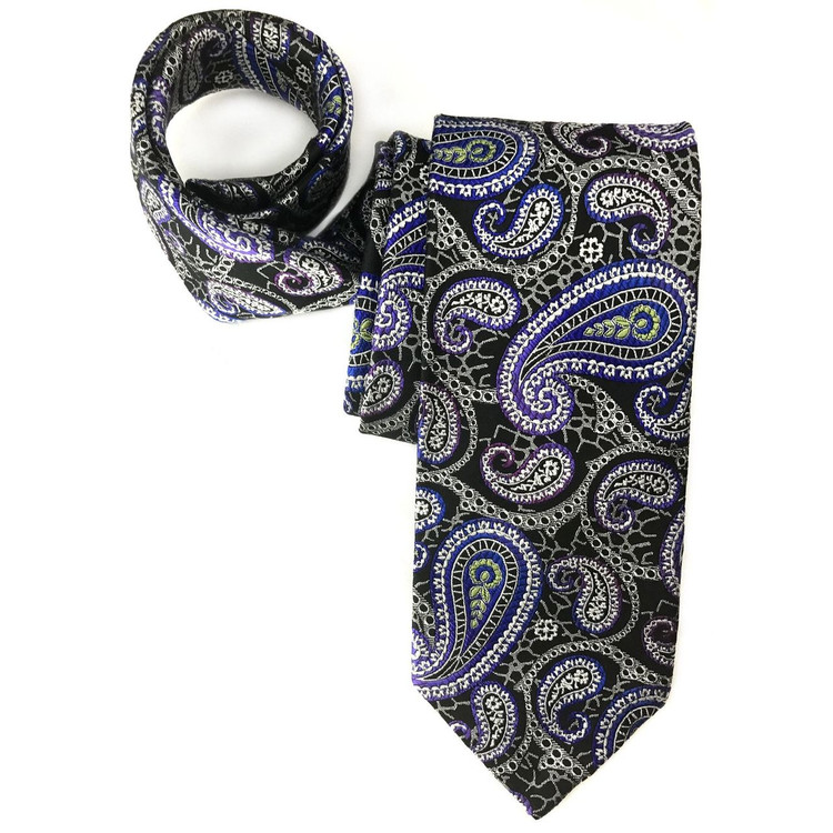 Black, Blue, and Purple Ombre Paisley Seven Fold Woven Silk Tie by Robert Talbott