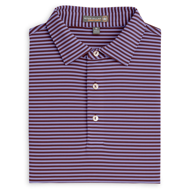 Competition Stripe Stretch Jersey 'Crown Sport' Performance Polo with Sean Self Collar in French Wine by Peter Millar