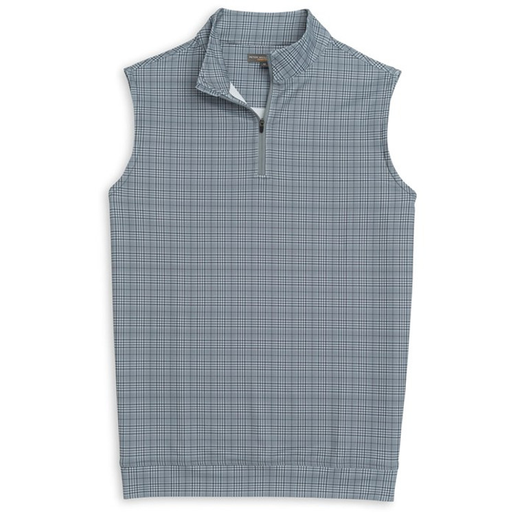 'Galway' Glen Plaid Stretch Loop Terry Quarter-Zip Performance Vest in Smoke by Peter Millar
