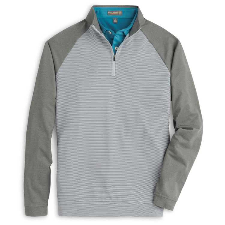 'Perth' Raglan-Sleeve Sugar Stripe Quarter-Zip Performance Pullover in Smoke by Peter Millar