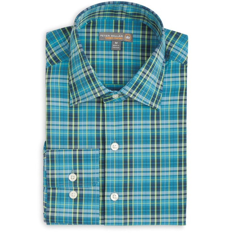 Special Plaid 'Crown Sport' Performance Sport Shirt in Bogue Blue by Peter Millar