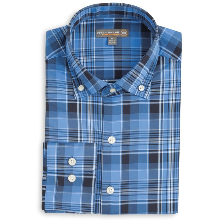 Pops Plaid 'Crown Sport' Performance Sport Shirt in Vessel by Peter Millar