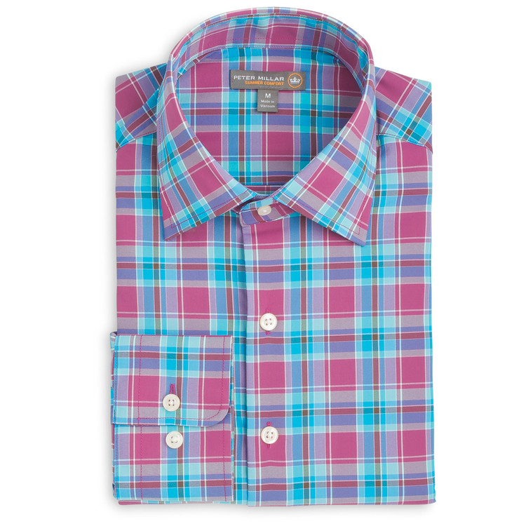 Pebbles Plaid 'Crown Sport' Performance Sport Shirt in Rosewood by Peter Millar