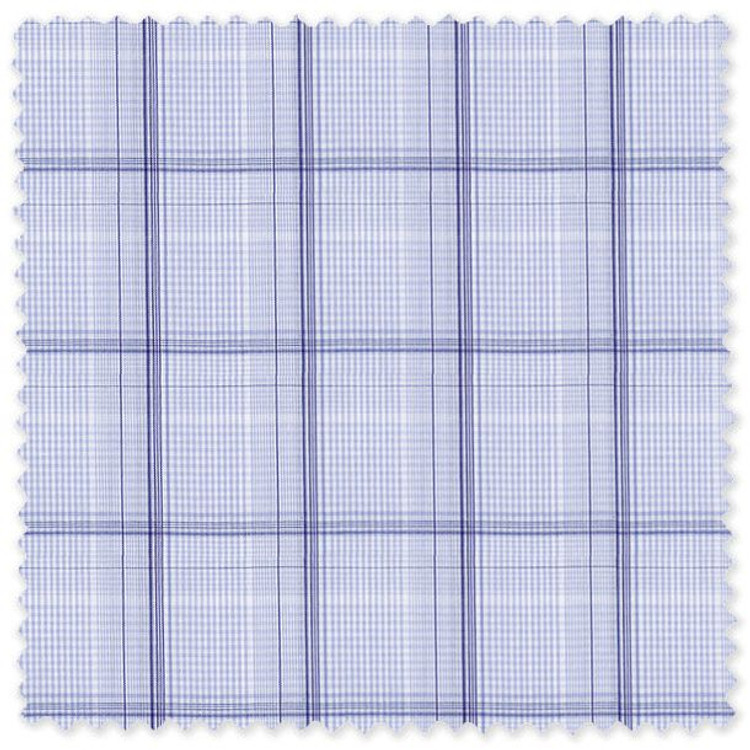 Blue Meander 71 Windowpane Check Custom Dress Shirt by Gitman Brothers