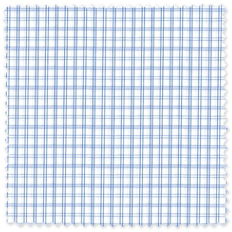 Blue and White 100's Single Broadcloth Check Custom Dress Shirt by Gitman Brothers
