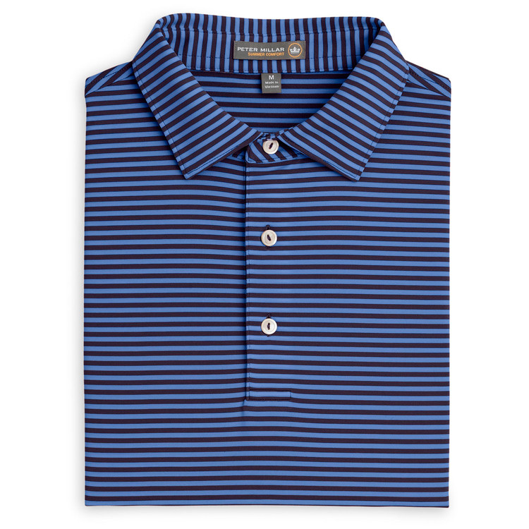 Competition Stripe Stretch Jersey 'Crown Sport' Performance Polo with Sean Self Collar in Blackberry by Peter Millar