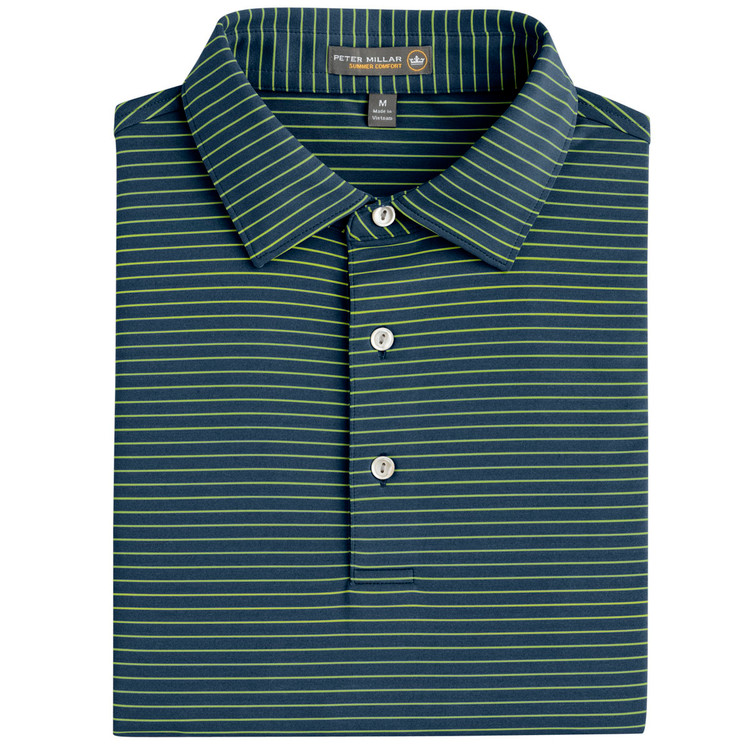 Commander Stripe Stretch Jersey 'Crown Sport' Performance Polo with Sean Self Collar in Midnight by Peter Millar