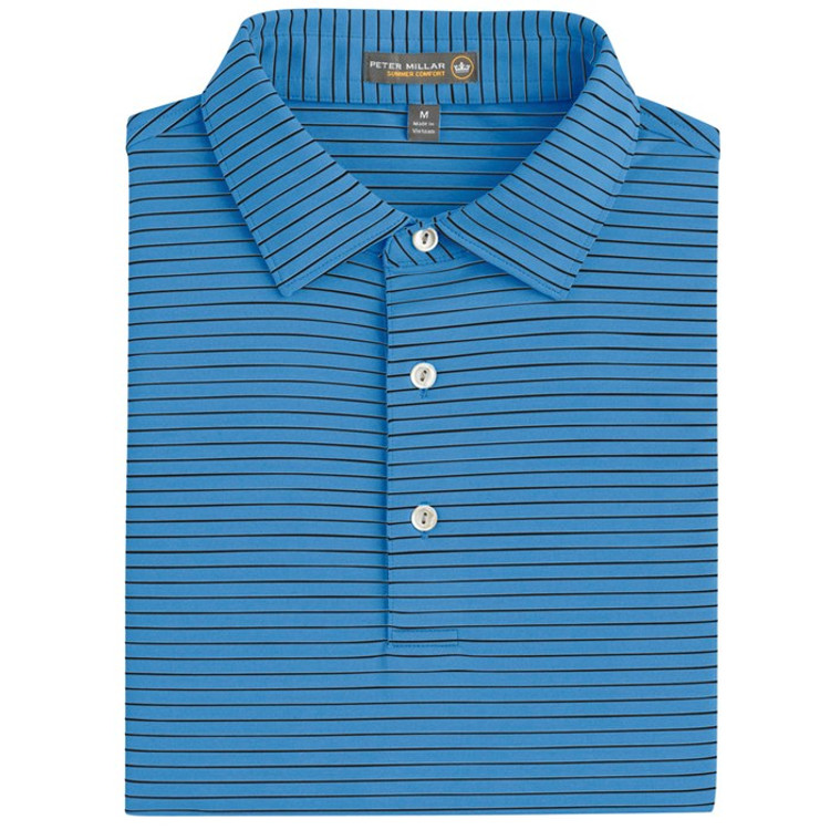 Commander Stripe Stretch Jersey 'Crown Sport' Performance Polo with Sean Self Collar in Vessel (Size Medium) by Peter Millar