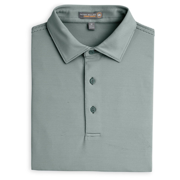 Jubilee Stripe Stretch Jersey 'Crown Sport' Performance Polo with Sean Self Collar in Pine by Peter Millar