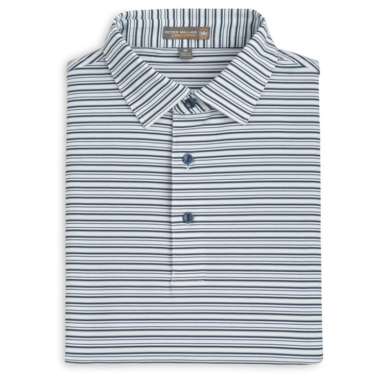 Barron Stripe Stretch Jersey 'Crown Sport' Performance Polo with Sean Self Collar in White and Midnight by Peter Millar