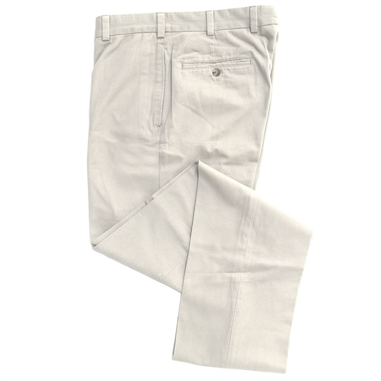 Summer Poplin Pant - Model F2 Standard Fit Plain Front in Stone by Hansen's Khakis