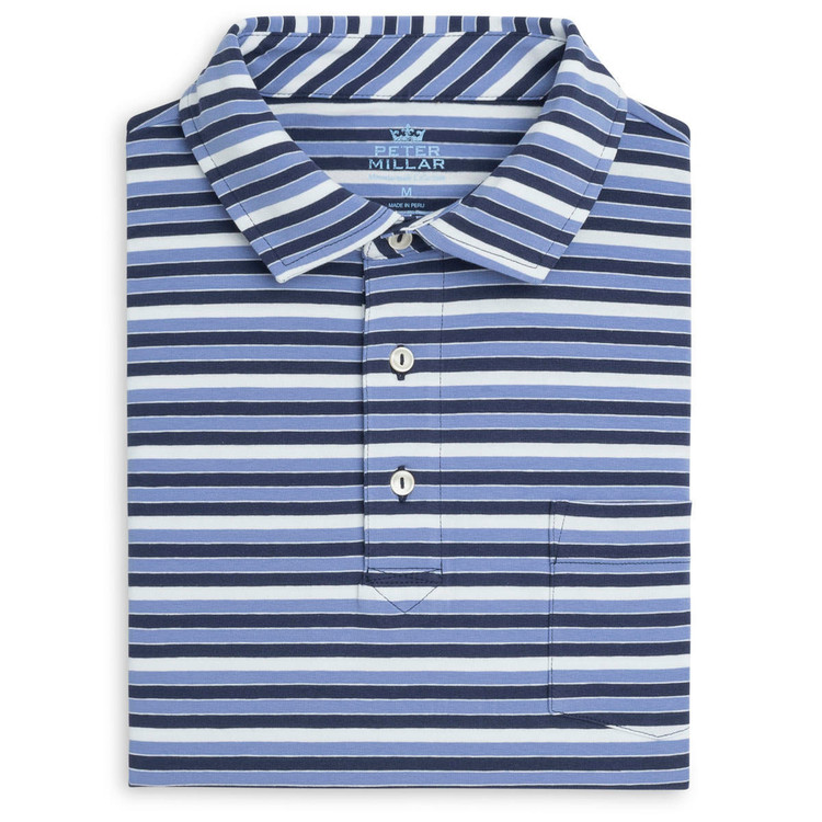 Lafayette Stripe Mountainside Wash Polo with Sean Self Collar in Atlantic Blue by Peter Millar