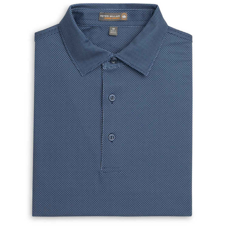 Pointer Print Mini Polka Dot Stretch Jersey 'Crown Sport' Performance Polo with Sean Self Collar in Midnight by Peter Millar