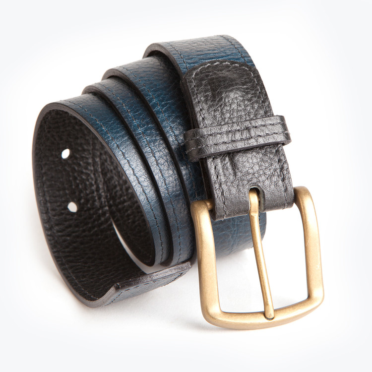Reversible Leather Belt in Titan Milled Navy & Titan Milled Gunmetal by Moore & Giles