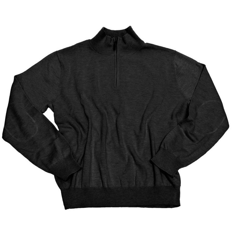 Cotton and Silk Quarter-Zip Mock Neck Sweater with Elbow Patches in Black by Viyella