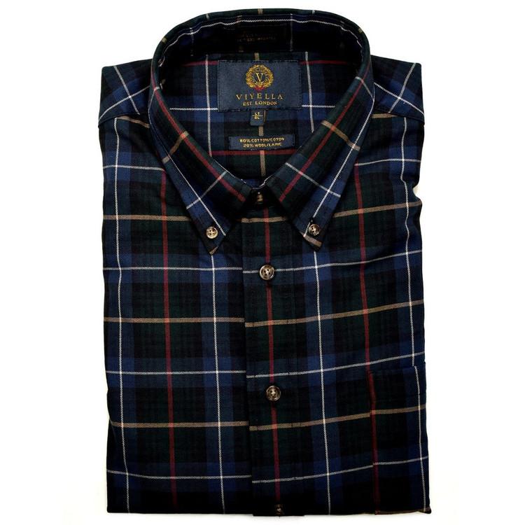 Pine and Navy Plaid Button-Down Shirt by Viyella