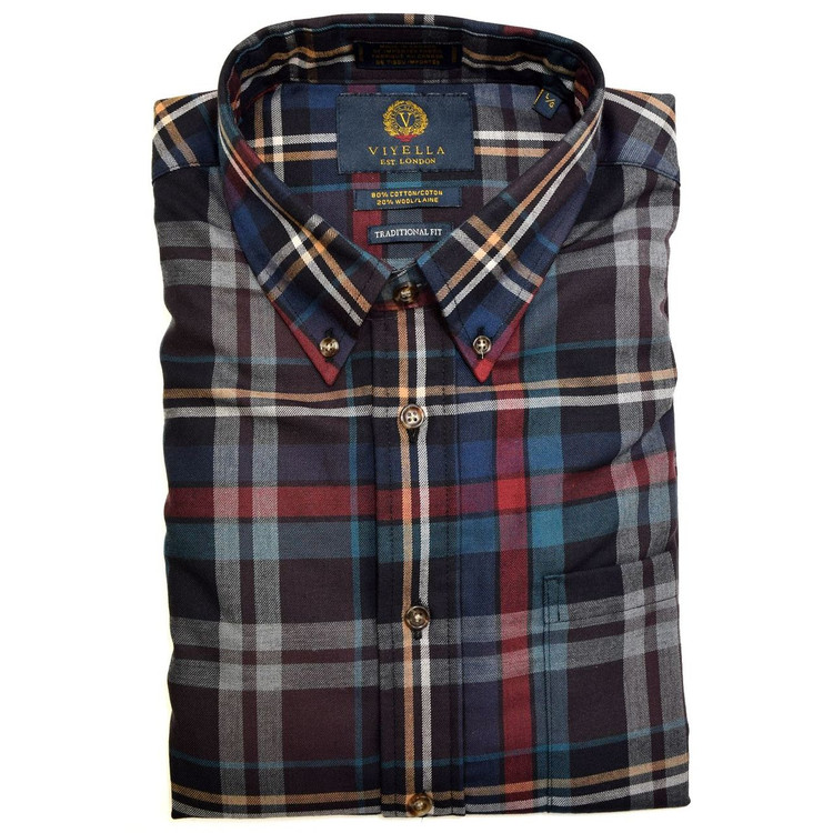 Navy, Brown, and Teal Plaid Button-Down Shirt by Viyella