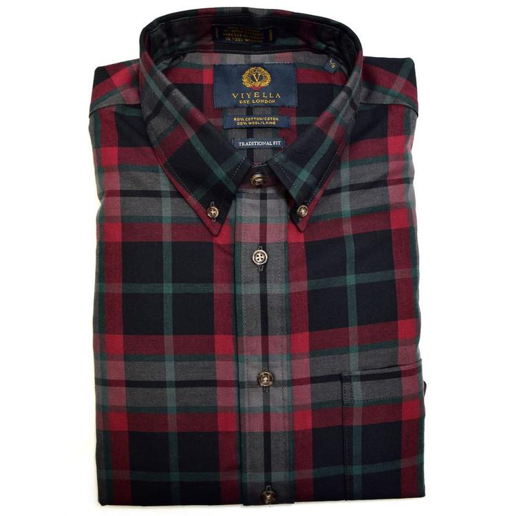 Vino, Grey, and Pine Plaid Button-Down Shirt by Viyella