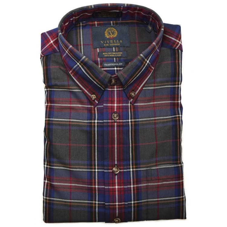 Blue, Red, and Olive Plaid Button-Down Shirt by Viyella