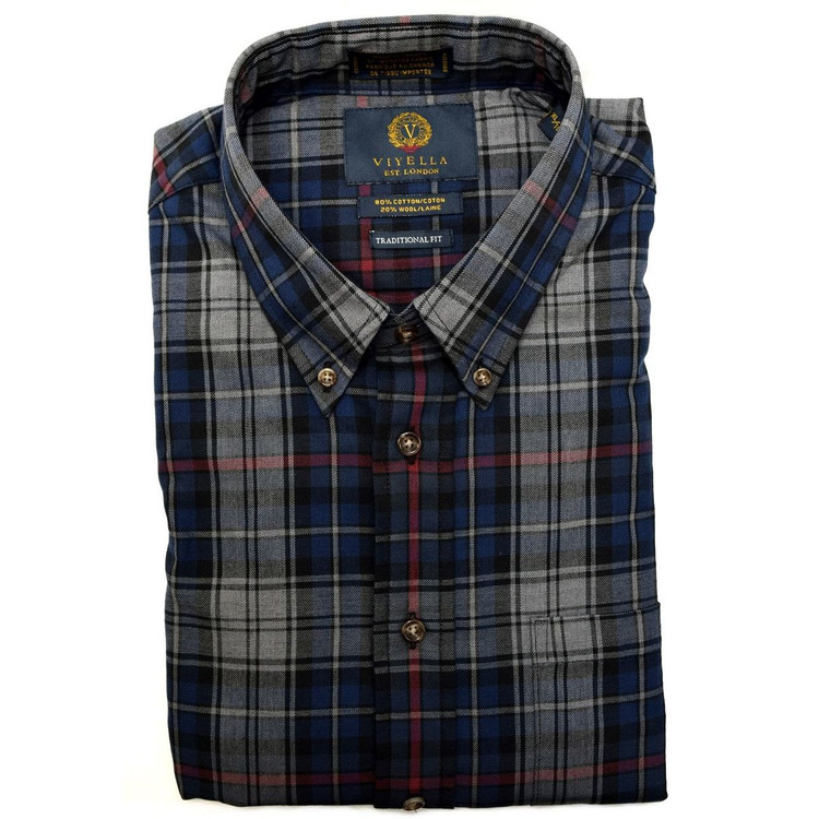 Grey and Blue Plaid Button-Down Shirt by Viyella