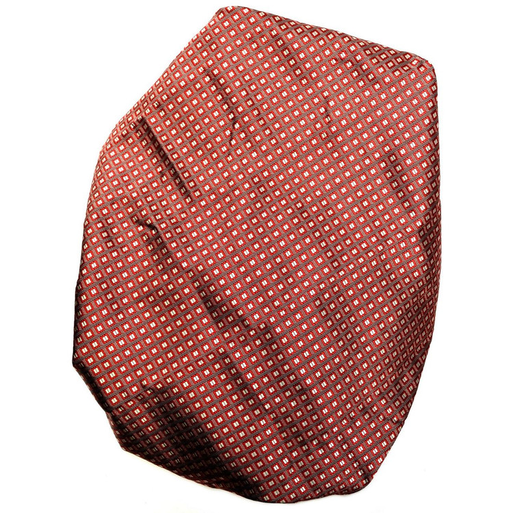 Custom Made Red and Cream Geometric Silk Estate Tie by Robert Talbott