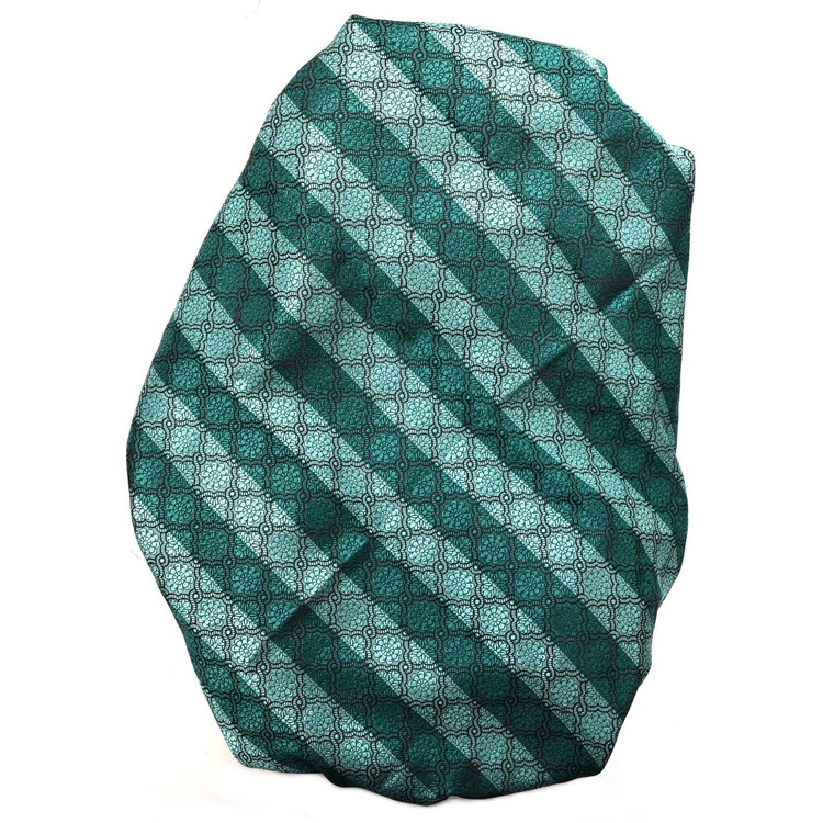 Custom Made Aqua and Black Geometric  Floral Silk Estate Tie by Robert Talbott