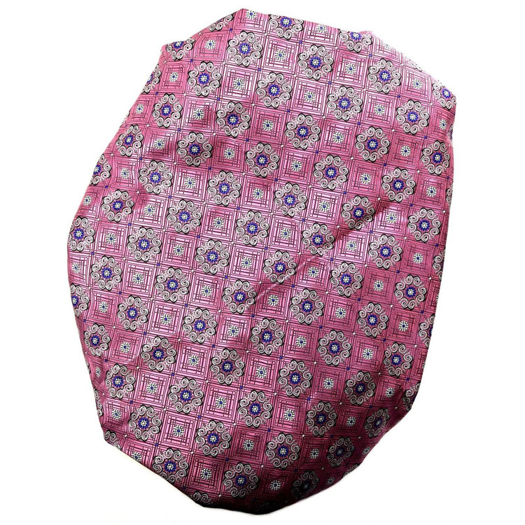 Custom Made Pink, White, and Blue Medallion Seven Fold Silk Tie by Robert Talbott