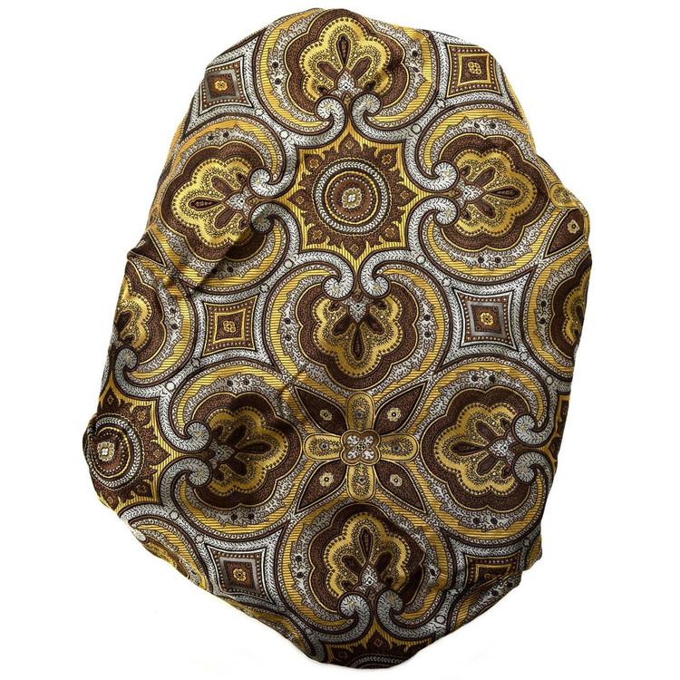 Custom Made Brown, Grey, and Gold Medallion Seven Fold Silk Tie by Robert Talbott