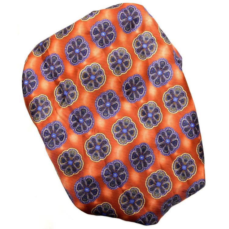 Custom Made Orange, Purple, and Gold Medallion Seven Fold Silk Tie by Robert Talbott