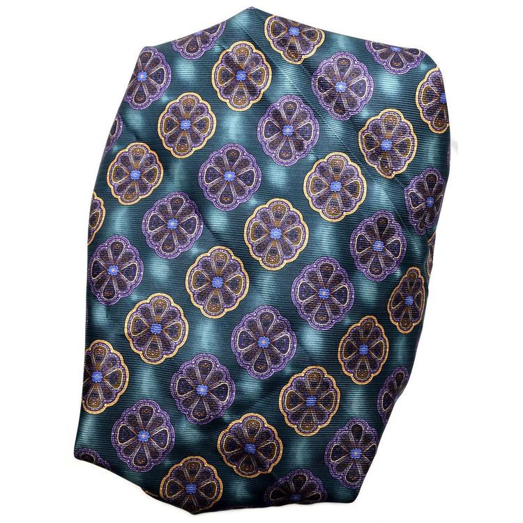 Custom Made Green, Purple, and Gold Medallion Seven Fold Silk Tie by Robert Talbott