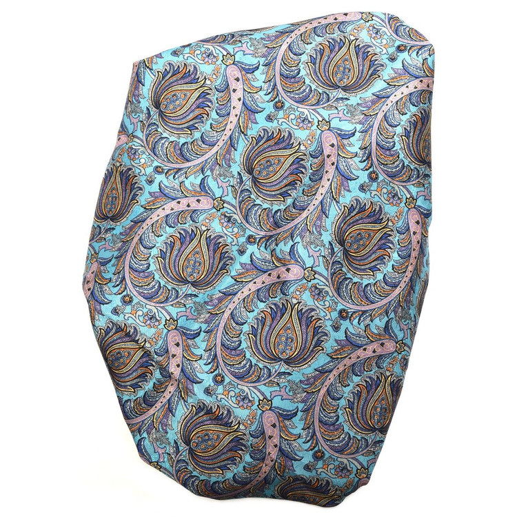 Custom Made Aqua, Blue, and Gold Paisley Seven Fold Silk Tie by Robert Talbott