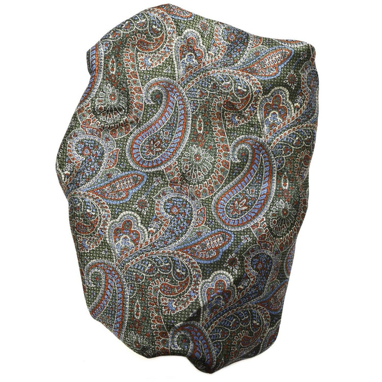 Custom Made Green, Rust, and Taupe Paisley Seven Fold Silk Tie by Robert Talbott