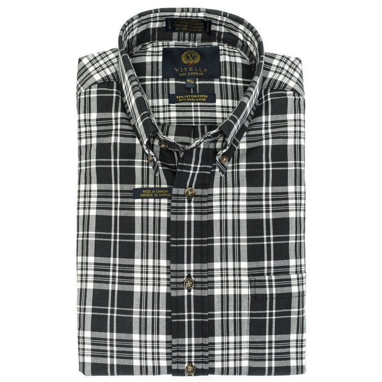 Black and White Plaid Button-Down Shirt by Viyella