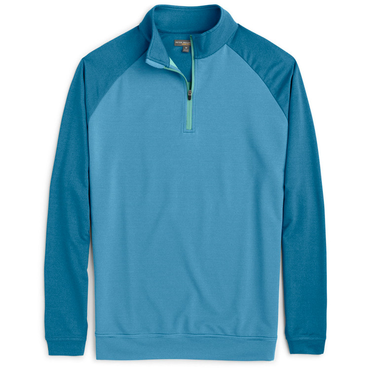 'Perth' Raglan-Sleeve Sugar Stripe Quarter-Zip Performance Pullover in Parisian Blue by Peter Millar